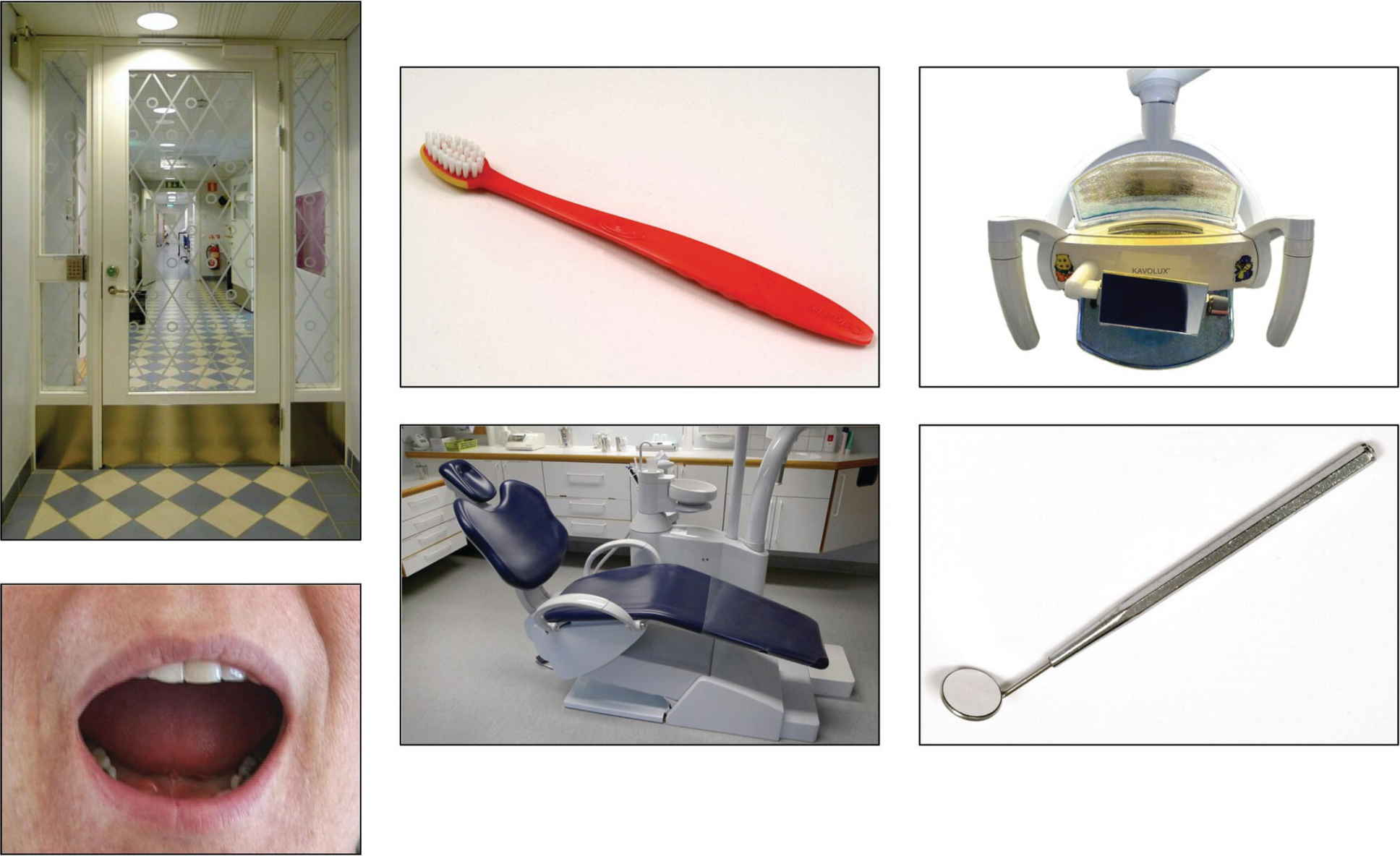 "Clockwise: Photos of the entrance, a toothbrush, the operatory light, a mirror, the dental chair, and an open mouth (symbolizing ""open your mouth"")."