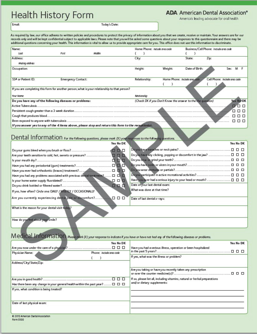 5 Patient Assessment Pocket Dentistry Dental Chart Forms